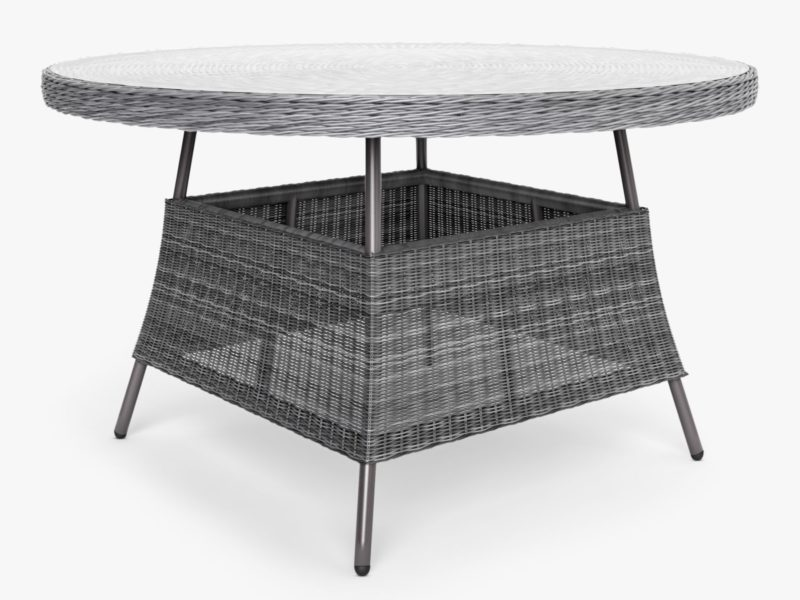 Round wicker 4-seater table with glass top