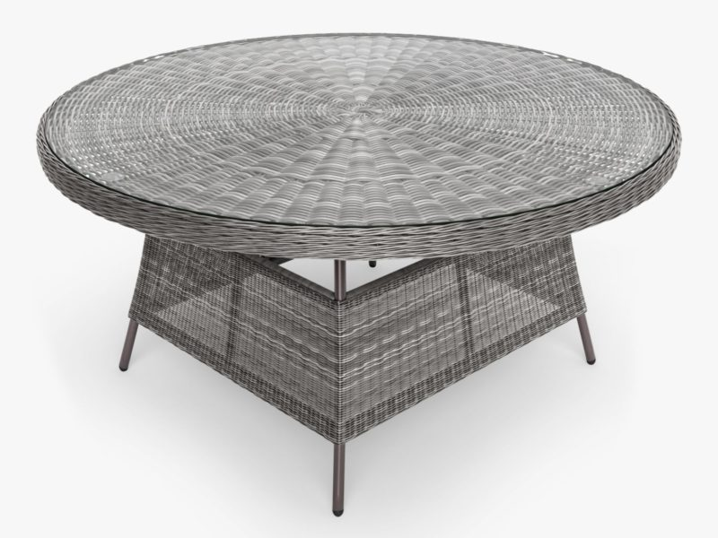 6-seater garden dining table with glass top