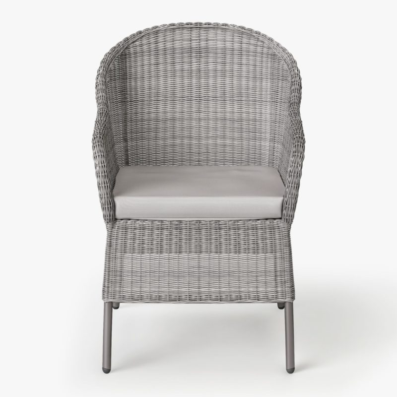 Grey wicker dining chair with seat cushion