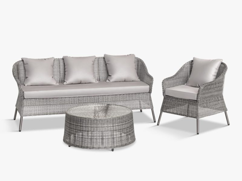 Grey wicker garden sofa, chair and coffee table