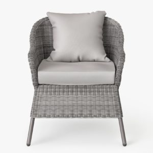 Grey wicker armchair with grey cushions