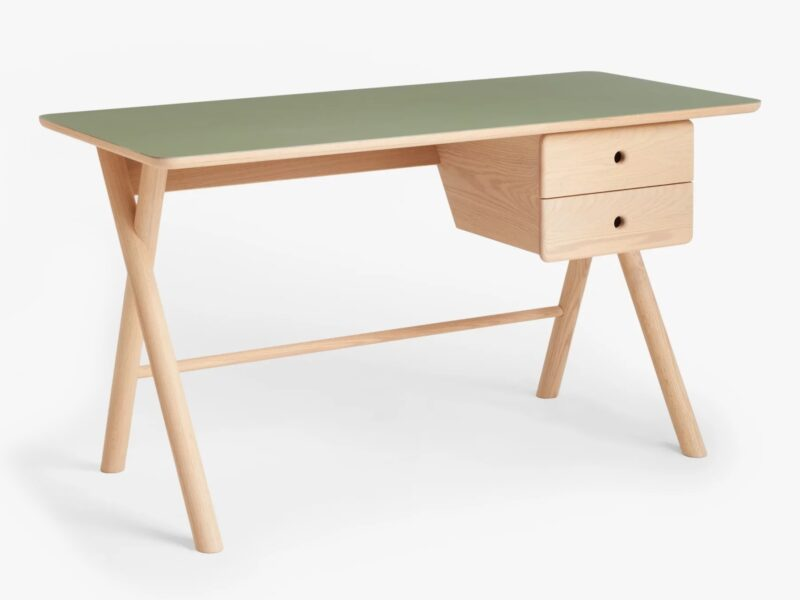 x-frame desk with green top