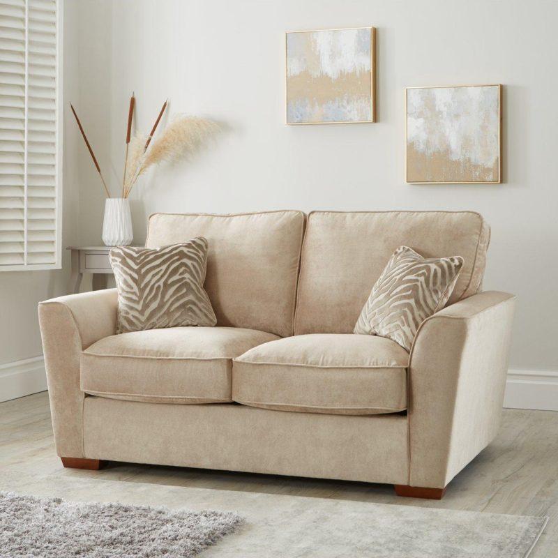 2-seater natural fabric sofa