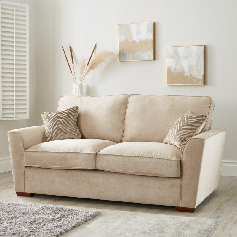 3-seater natural fabric sofa