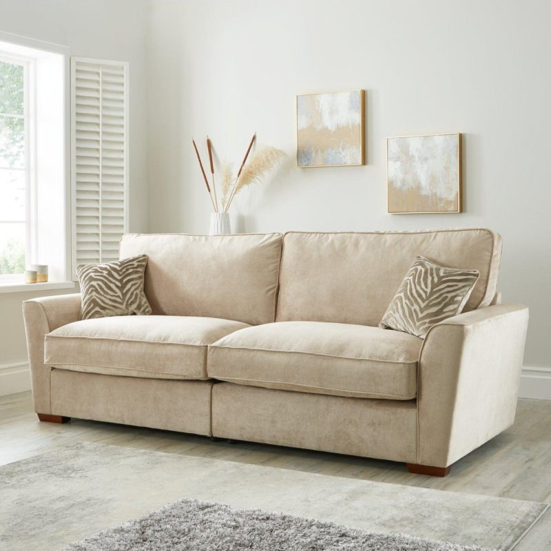 4-seater natural fabric sofa