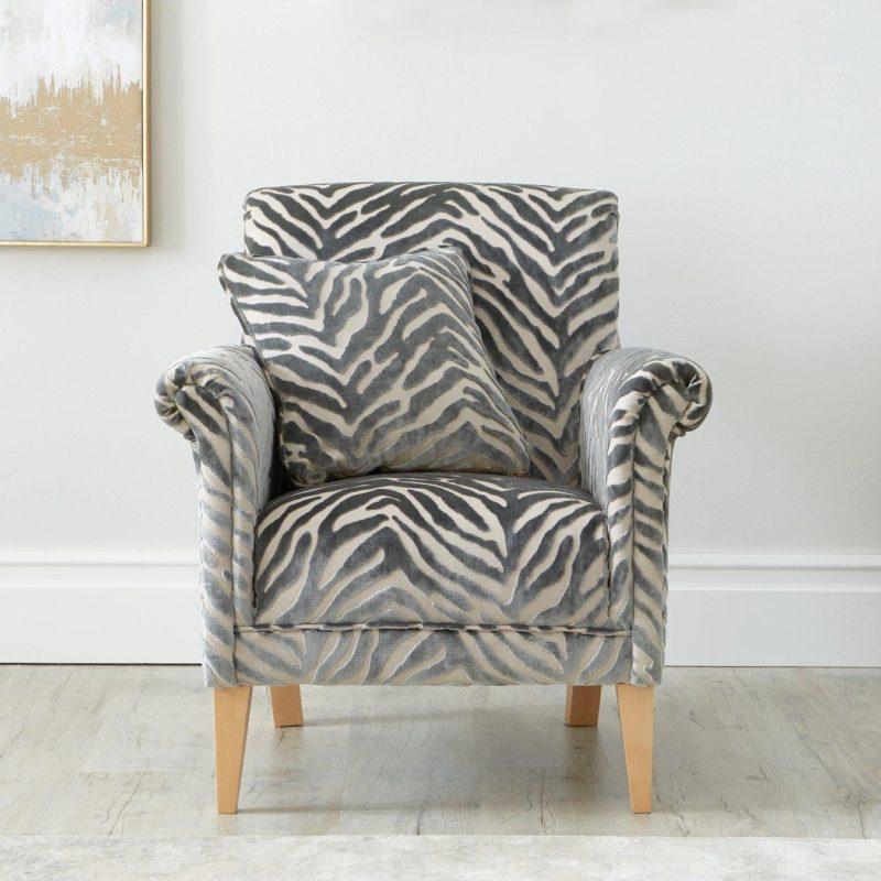 Grey animal print armchair
