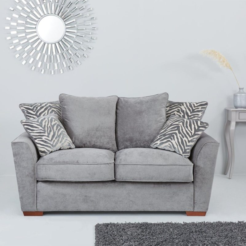 Grey 2-seater sofa with scatter back cushions