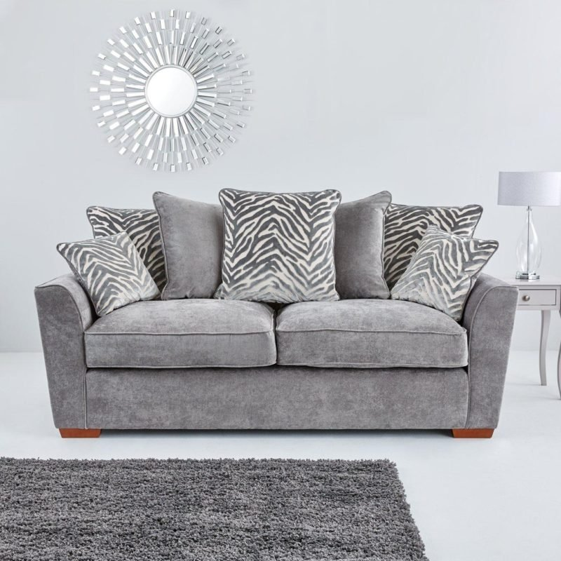 Grey fabric sofa with scatter back cushions