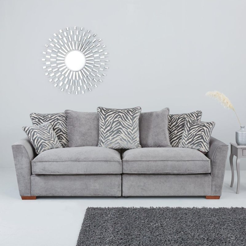 Grey 4-seater fabric sofa with scatter back cushions