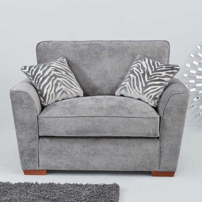 Grey fabric cuddle chair