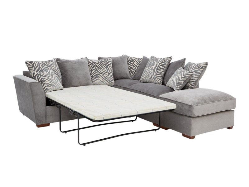 Right-handed grey fabric sofa bed