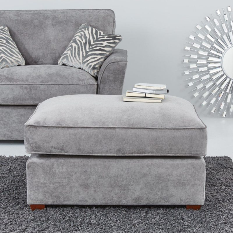 Grey fabric footstool