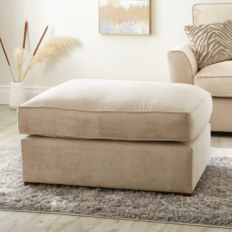 Natural fabric upholstered footstool