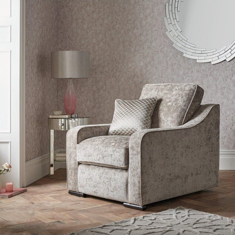 Silver fabric upholstered armchair