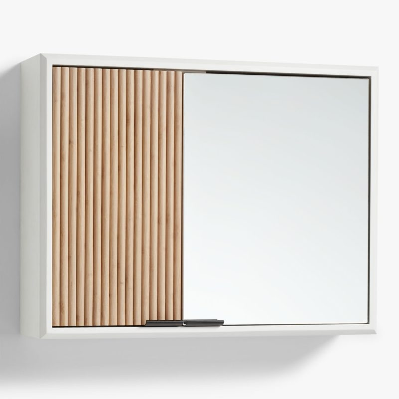 Bathroom wall cabinet with ridge pattern door