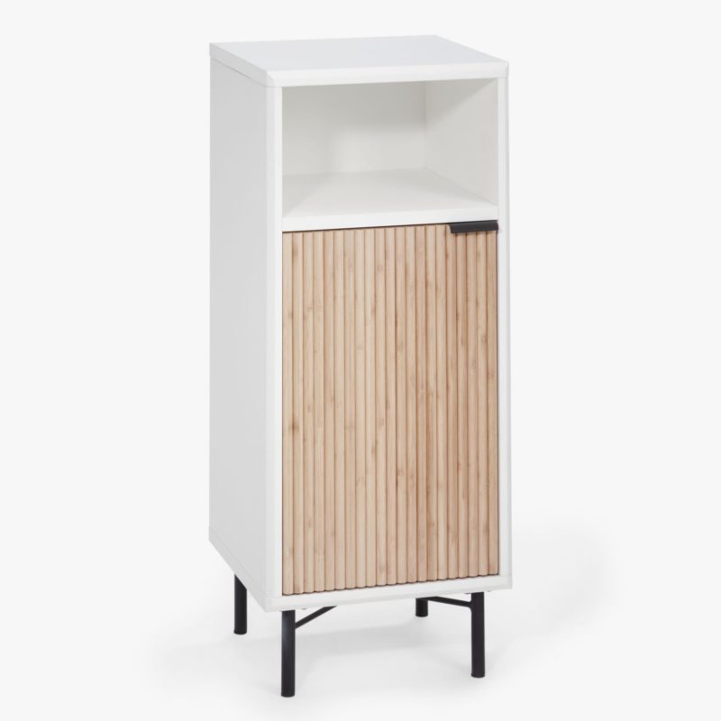 Bathroom floor cabinet with ridge pattern door