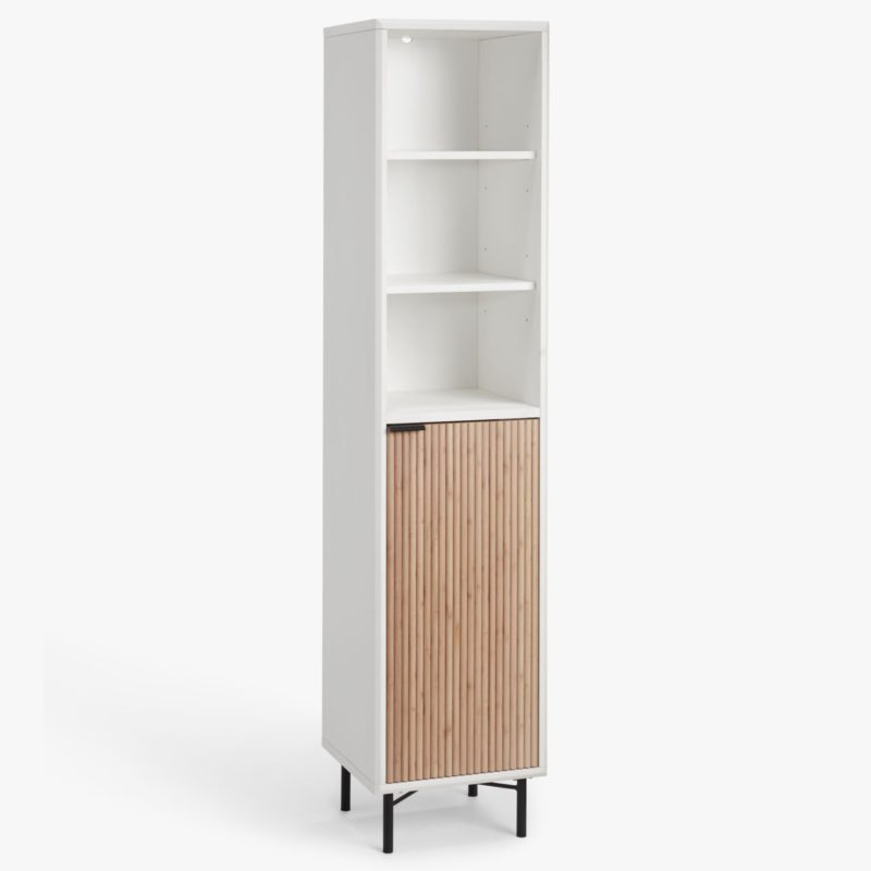 White tallboy unit with natural wood door