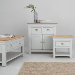 Grey-painted sideboard, lamp table and coffee table