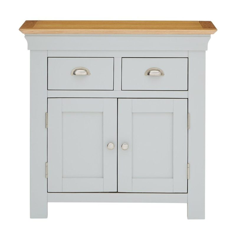 Grey compact sideboard with oak top