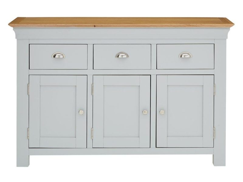 Wide sideboard with grey finish and oak top