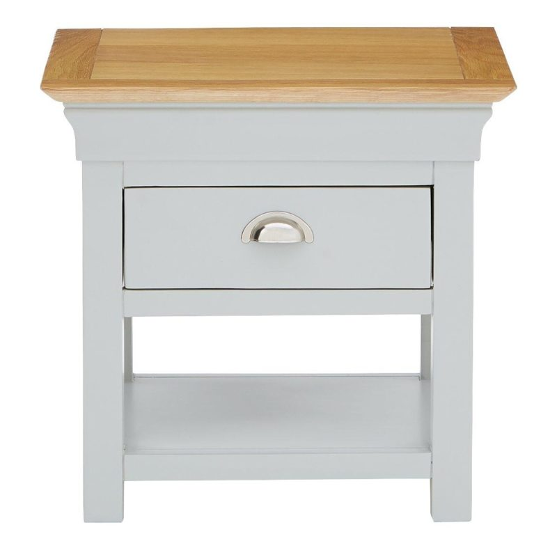 Grey-painted lamp table with oak veneer top