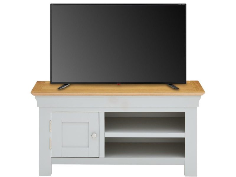 Grey-painted TV console with oak top