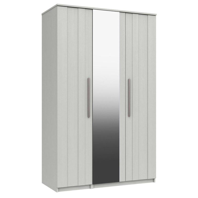 White 3-door wardrobe with mirror