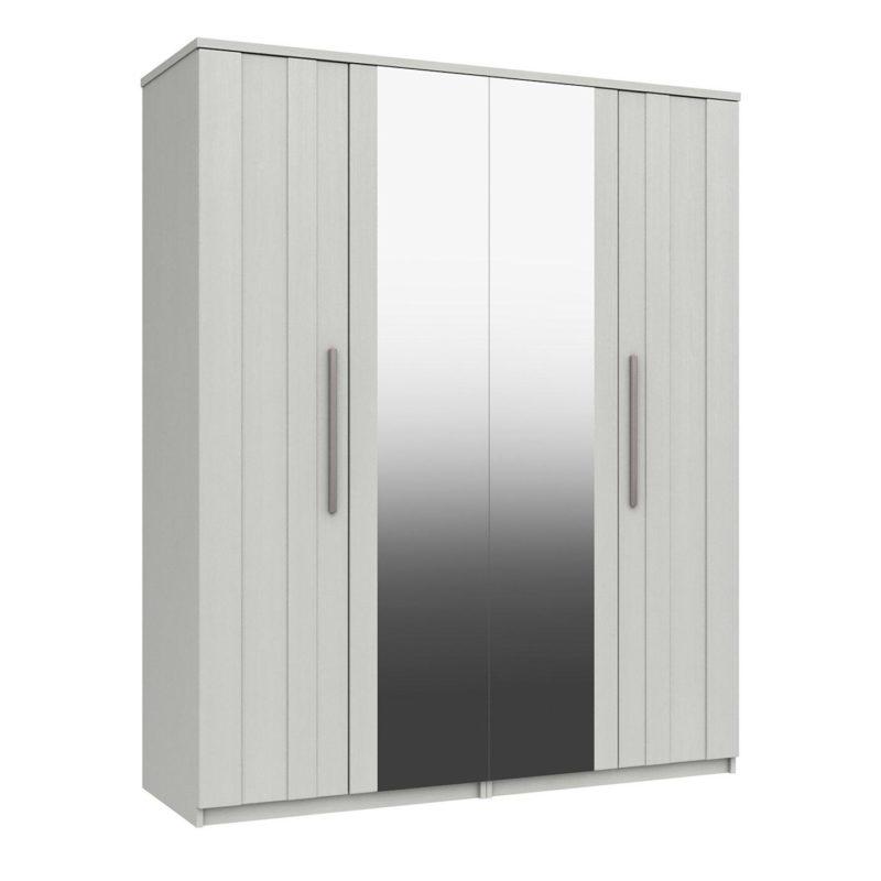 White 4-door wardrobe with 2 mirrored doors