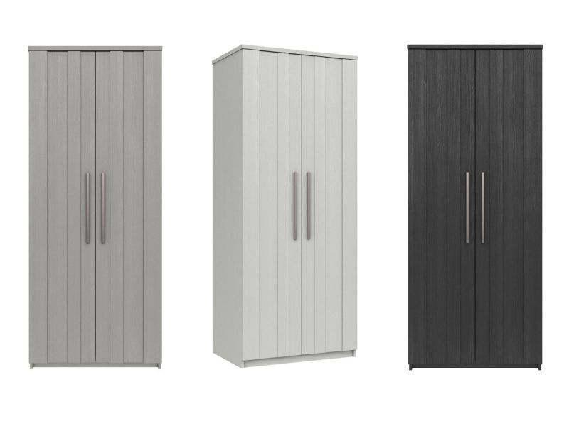 Grey, white and graphite coloured 2-door wardrobes