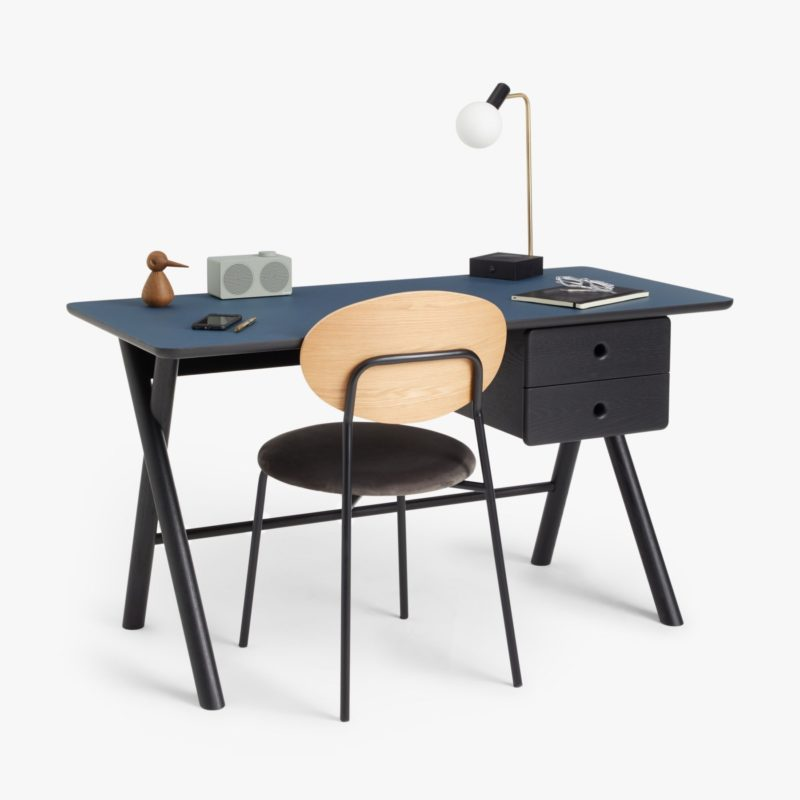 Black desk with blue top and X frame legs