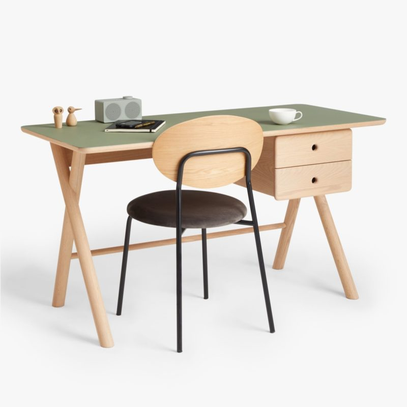 Natural coloure desk with X frame legs and green top
