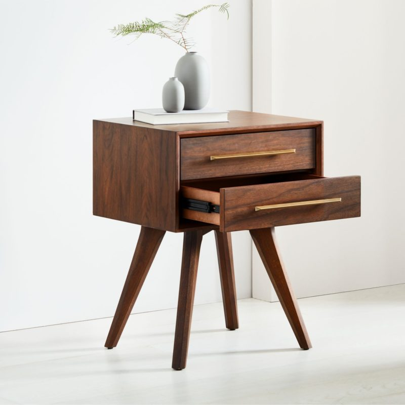 Mid-century style 2-drawer bedside table