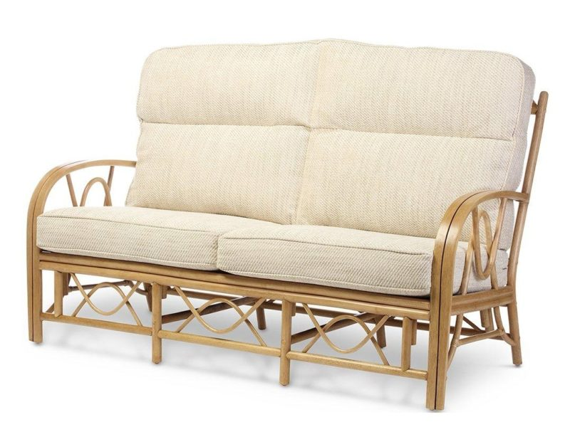 3-seater sofa with cane rattan frame