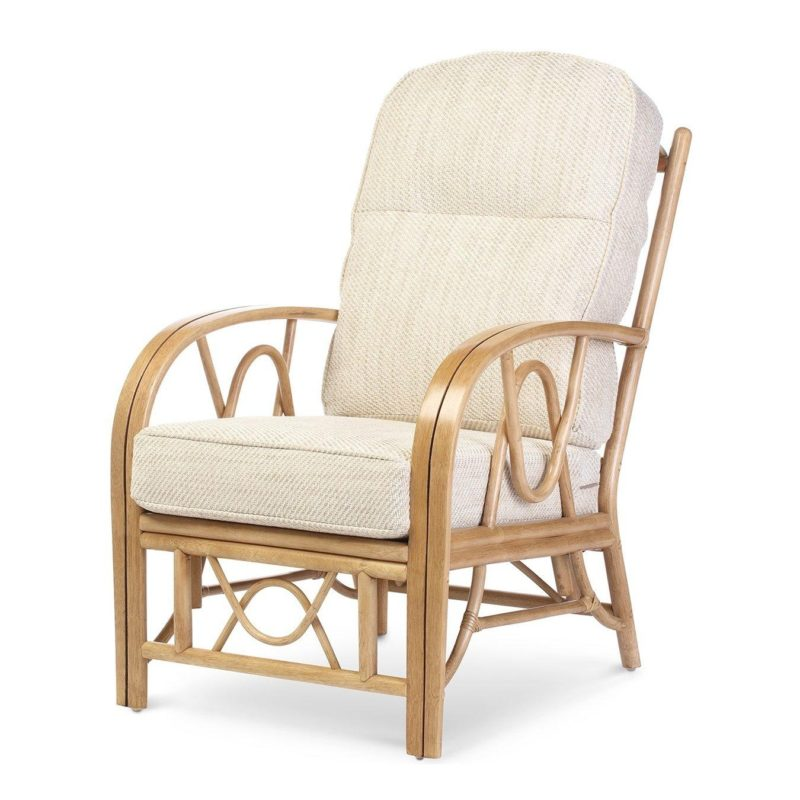 Rattan cane frame armchair with seat and back cushions