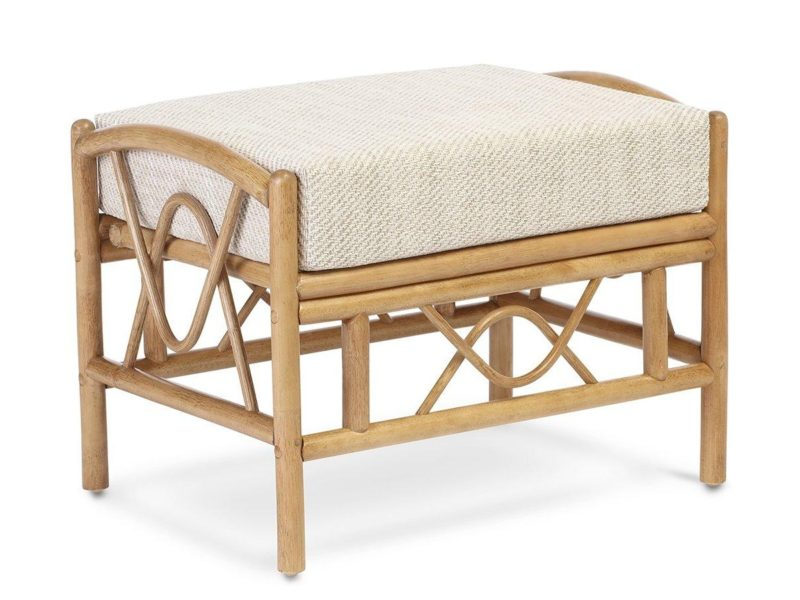 Rattan frame cushioned footstool