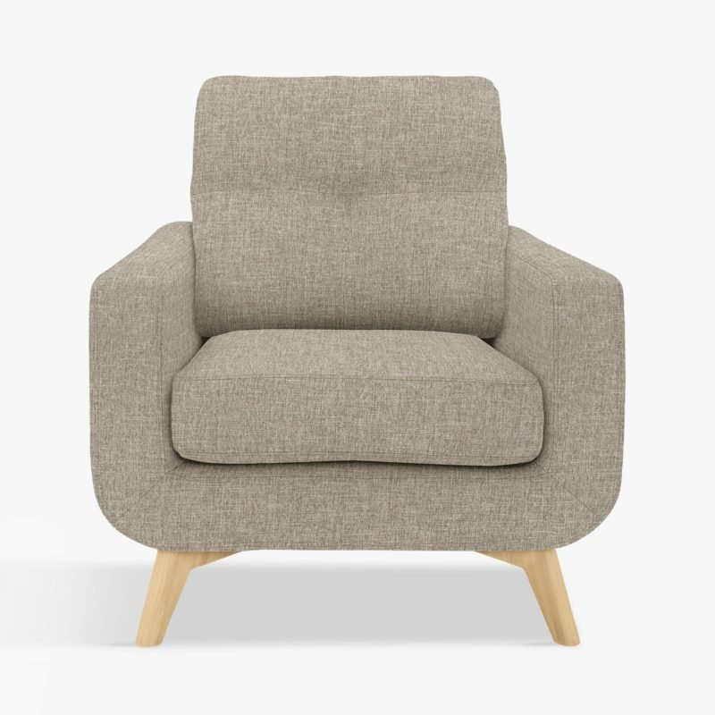 Grey fabric armchair with wooden legs