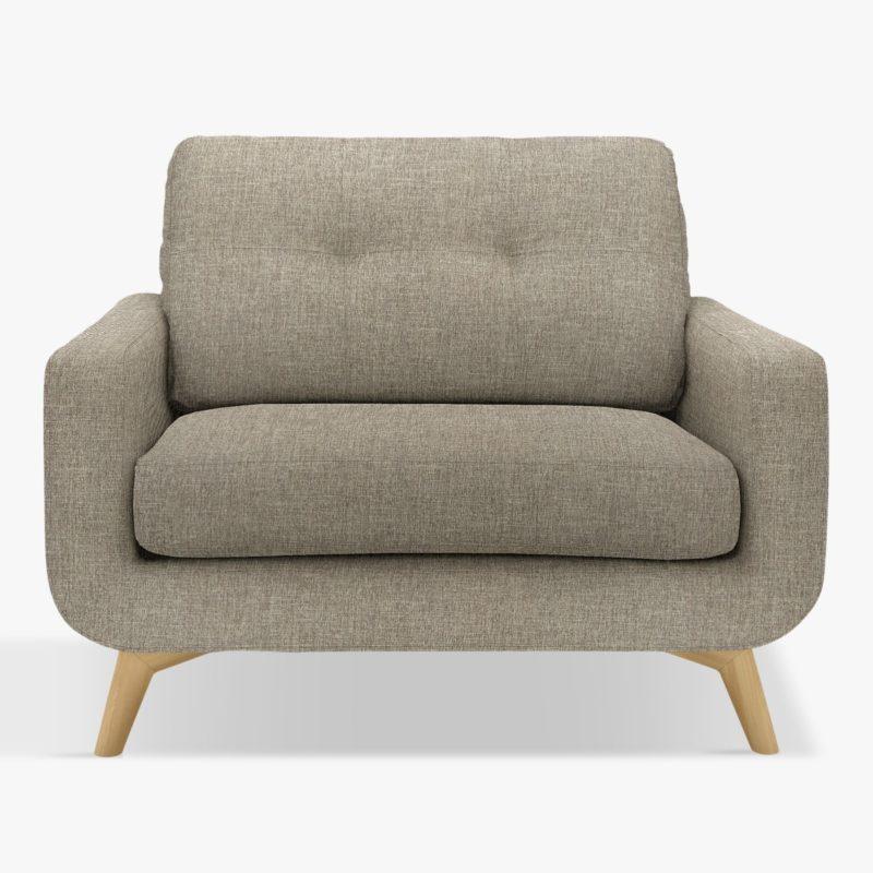 Grey fabric snuggler-style armchair