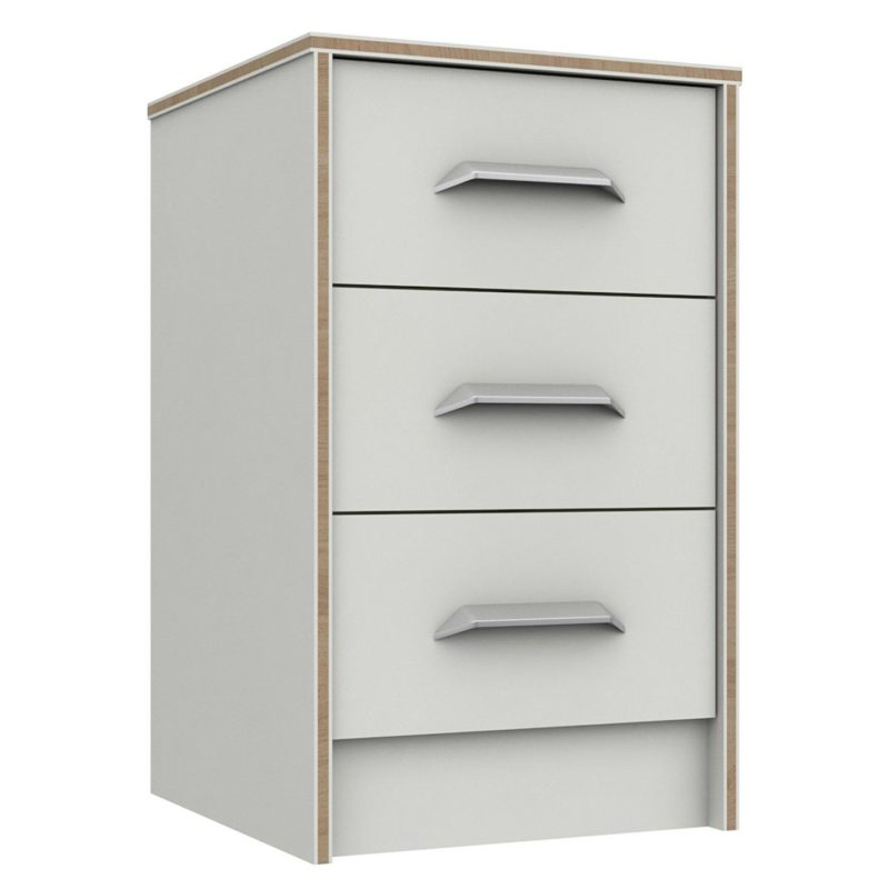White, 3-drawer bedside chest