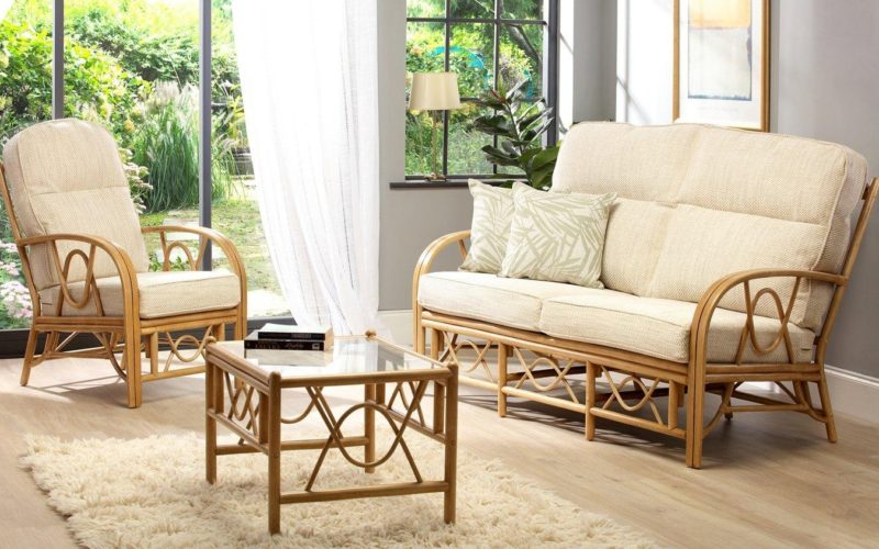 Rattan furniture with natural fabric cushions