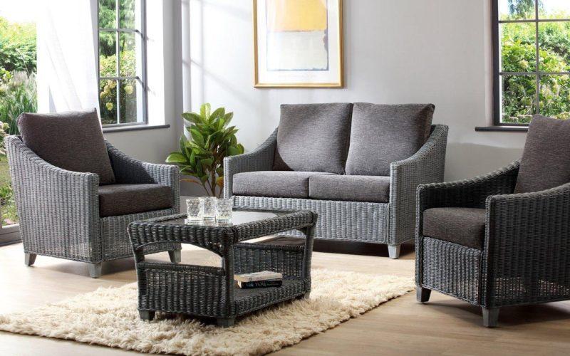 Grey rattan conservatory furniture