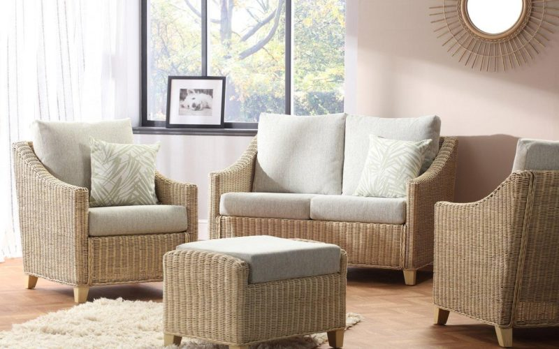 Natural rattan sofa, armchair and footstool