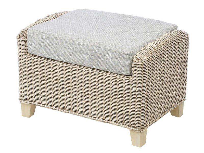 Rattan cushioned footstool