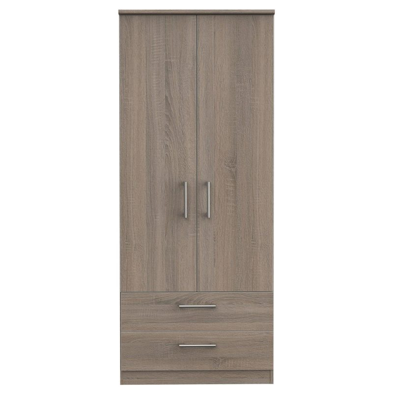 Oak finish wardrobe with 2 drawers