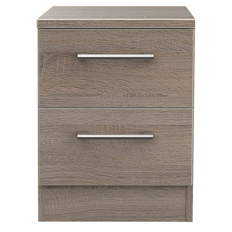 Oak effect 2-drawer bedside chest
