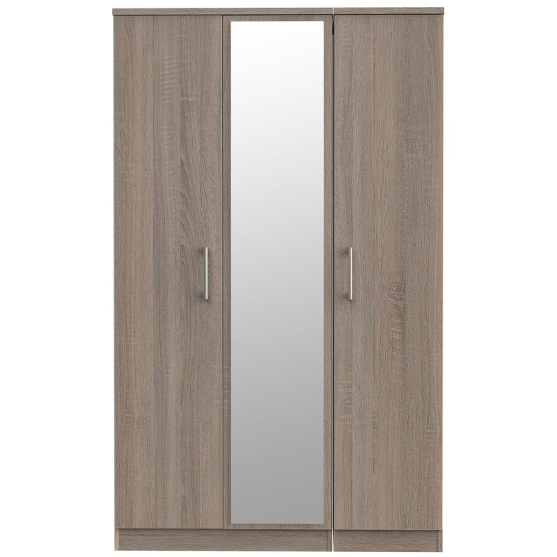 3-door oak finish wardrobe with central mirror