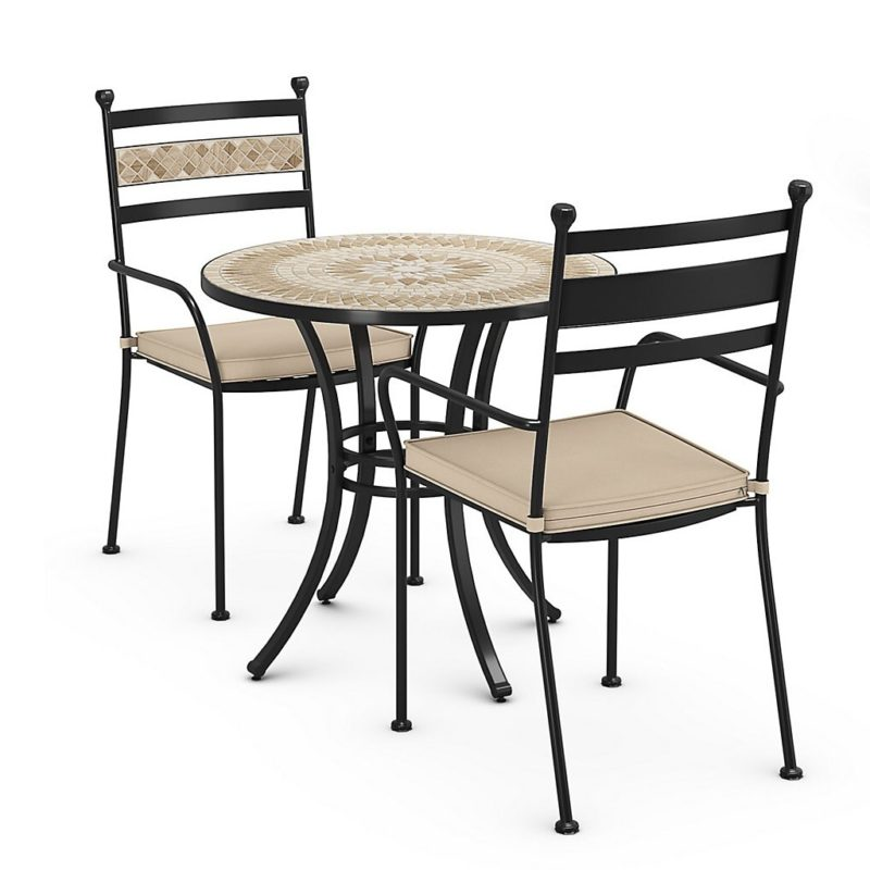 Mosaic top bistro table and two chairs