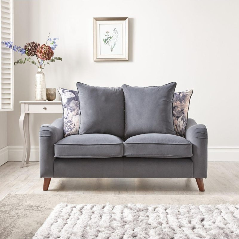 Grey 2-seater scatter back sofa