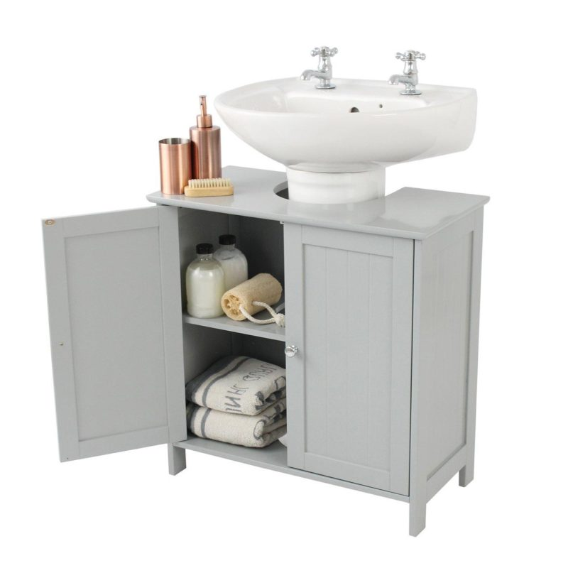 Grey-painted under basin cabinet