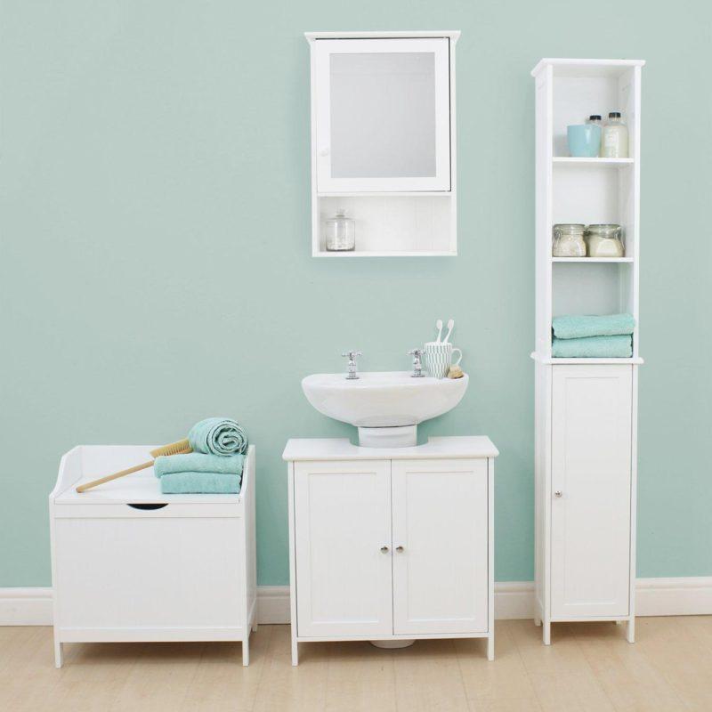 White-painted bathroom units