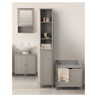 Grey-painted bathroom units